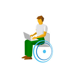 man in wheelchair working with computer vector image