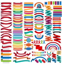 Mega collection of retro ribbons and labels vector