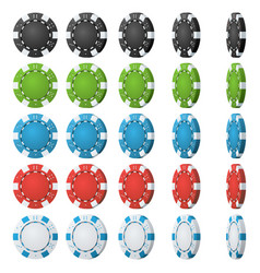 poker chips flip different angles set vector image
