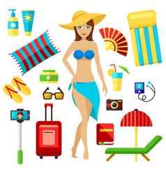 preparing for summer beach vacation set vector image