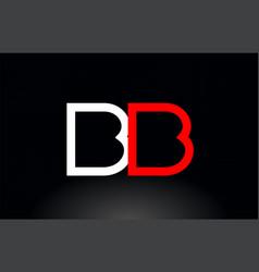 Red white alphabet letter bb b b combination for vector