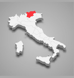 region location within italy 3d map vector image