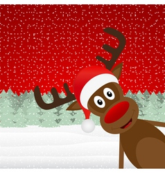Reindeer peeking side in the forest vector