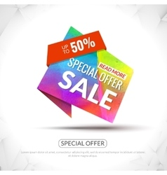 Sale Tag in Paper Origami style with watercolor vector