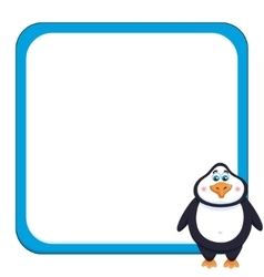 School background with cheerful cute penguin vector image