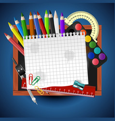 school supplies and empty paper with place for vector image