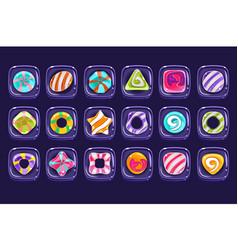 Set colorful candies inside transparent vector