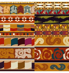 Set graphic seamless ethnic textures vector