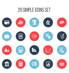 set of 20 editable finance icons includes symbols vector image