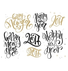 Set of hand lettering new year quotes vector
