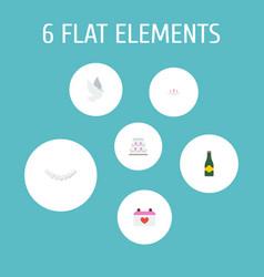 set of wedding icons flat style symbols with vector image