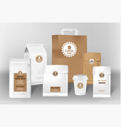 Set realistic coffee paper package design vector