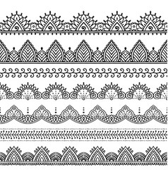 set seamless lace borders vector image