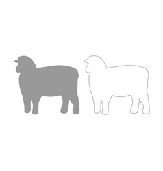 sheep silhouette grey set icon vector image