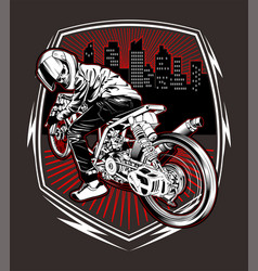 skull motorcycle racing hand drawing vector image