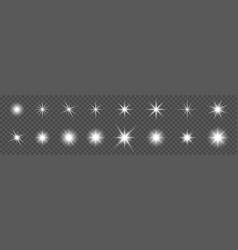 Sparkling star set glowing star light effect vector