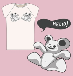 strange bear T shirt vector image