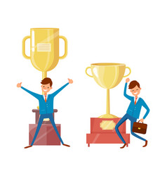success businessman and trophy cups golden awards vector image