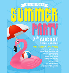 Summer party invitation flyer background template vector