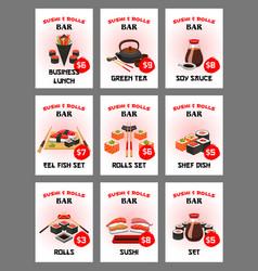 sushi menu card for japanese cuisine restaurant vector image vector image
