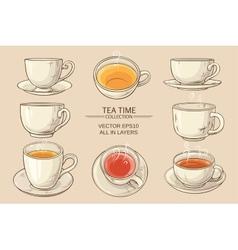Tea cups set vector
