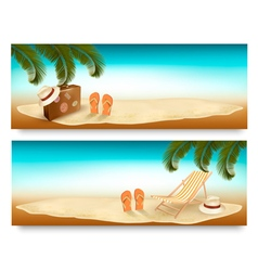Tropical island with palms a beach chair and a vector