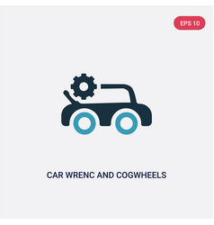 Two color car wrenc and cogwheels icon from vector