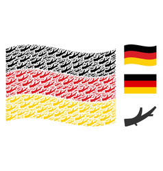 waving germany flag pattern of firewood icons vector image