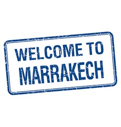Welcome to marrakech blue grunge square stamp vector