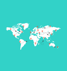 world map with airplane trace blank vector image