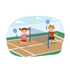 Young boy and girl playing a game tennis vector
