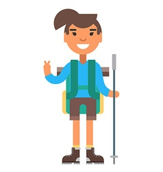 Young woman in blue shirt with backpack and hiking vector