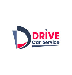 blue and red colors logo for car service business vector image