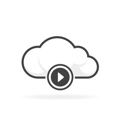 cloud play audio and video icon vector image