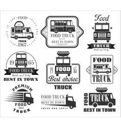 Food truck emblems icons and badges vector