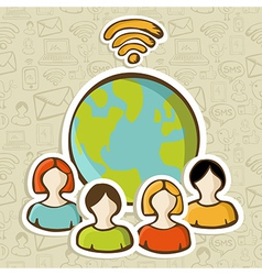 Internet diversity people global connection vector image vector image