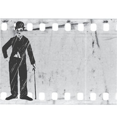 silhouette chaplin on old film vector image