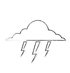 cloud lightning bolt storm natural climate vector image
