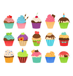 cupcakes flat icons vector image vector image