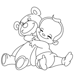outlined baby hug bear vector image vector image