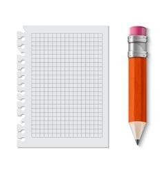 Realistic yellow pencil icon vector image vector image