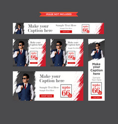 set of chic clothing red and white sale web vector image