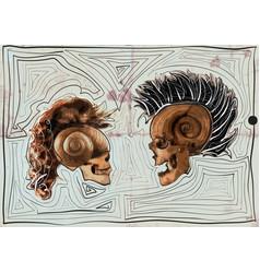 dialogue - myth - skulls vector image