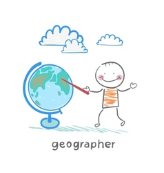 geographer shows on the globe vector image