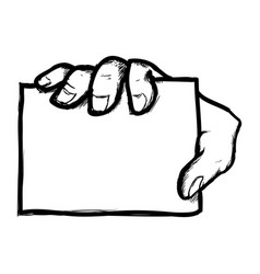 Man hand gesture showing a paper vector