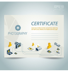 Photography certificate design photo camera vector