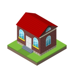 Residential isometric house with grass and ground vector image