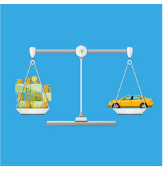 scales with car and money coins cash vector image