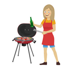 young woman cooking barbecue grill vector image