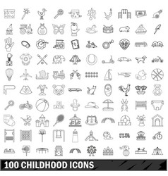 100 childhood icons set outline style vector
